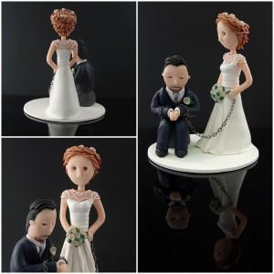 En cake topper med brudgummen i bojor.