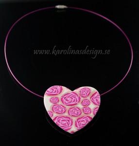 Halsband, hjärta med rosa rosor. Handgjort